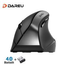 DAREU LM108 بلوتوث 4.0 + 2.4Ghz وضع مزدوج ماوس لاسلكي 6 زر مريح نوع الجلد الفئران العمودية لأجهزة الكمبيوتر المحمول والكمبيوتر