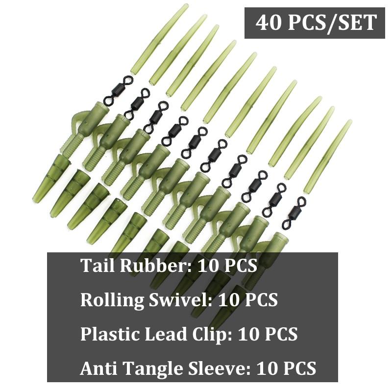 Pin,Anti  Sleeves Fishing Terminal Tackle 40pcs Safety Lead Clip Set
