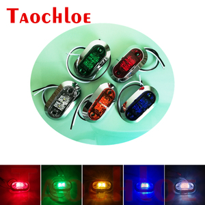 Image 1 - 10Pcs 12V 24V Side Marker Lights Car Front Rear Bumper Decorative Lamps Trailer Truck Boat Chrome Clearance Light