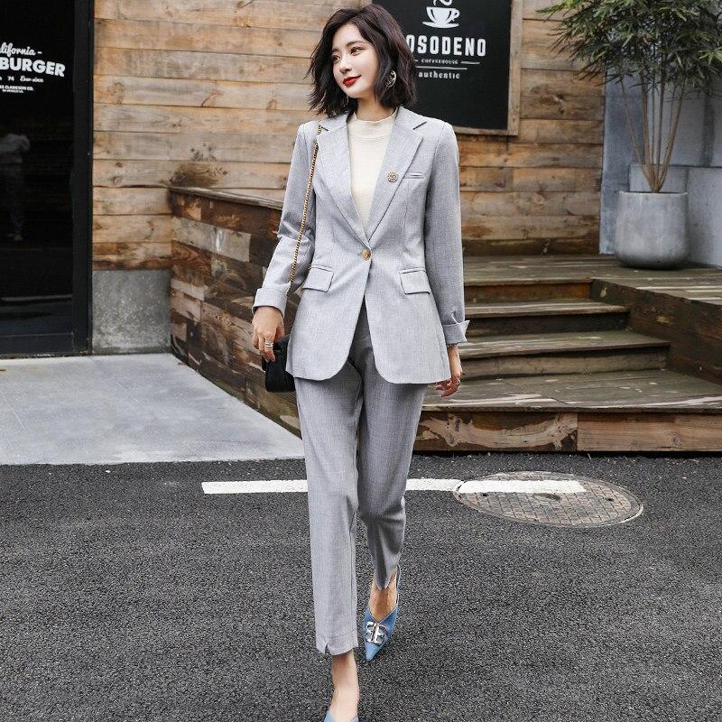 Temperament Women's Suits Pants Suit 2019 Autumn New Fashion Slim One Button Jacket Blazer Female Office Pants Suit Two-piece