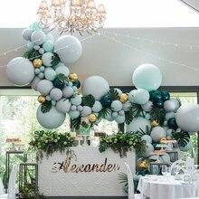 373pcs Balloons Arch Double Layer Macaron Pastel Latex Balloon Garland Kit Dark Green Ballon Birthday Wedding Party Decorations