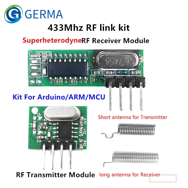 GERMA 433 Mhz Superheterodyne RF Receiver and Transmitter Module For Arduino Uno Wireless Module Diy Kit 433Mhz Remote Control