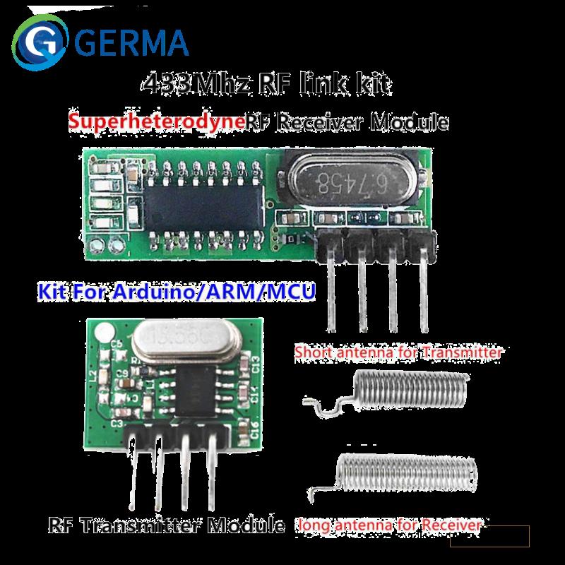 جيرما 433 Mhz Superheterodyne RF جهاز إرسال واستقبال وحدة ل اردوينو Uno وحدة لاسلكية لتقوم بها بنفسك عدة 433 Mhz التحكم عن بعد