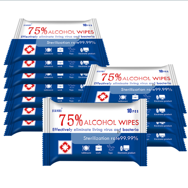 5Packs Alcohol Wipes 75 Degree Alcohol Disinfection Wet Wipes Travel Disposable Sterilization Disinfectant  Wipe 10 Piece