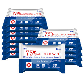 5Packs Alcohol Wipes 75 Degree Alcohol Disinfection Wet Wipes Travel Disposable Sterilization Disinfectant  Wipe 10 Piece недорого