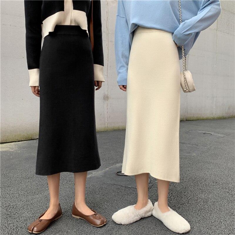 Autumn Winter Basic Knit Midi Skirt Korean Chic Split Slim Black Skirt Elastic Waist Solid Color All-match Women's Skirts Casual