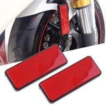 1 par vermelho moto rcycle refletor tiras reflexivas para moto rcycle atv scooter bicicleta da sujeira ciclomotor 4 rodas farol auxiliar moto 98mm
