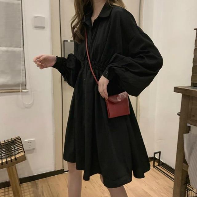 Woman Dress Long Sleeve Preppy Style Solid Sweet undefined Dresses Simple Elegant Pleated Japanese Students Womens Streetwear 2