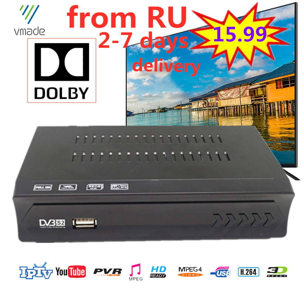 Hot Selling European Russian Decoder Digital Fully HD DVB S2 Satellite Receiver Support Dolby,Youtube,CCCAM,IPTV Set Top Boxes