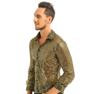 Image 4 - Mens Tuxedo Shirts Shiny Sequins See Through Mesh Long Sleeve Clubwear for Night Party Show Dancing Performance Top Shirt