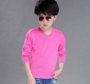 Image 4 - 2020 של האביב לילדים סוודרים מוצק סיבתי ארוך שרוול v צוואר סרוג דק סוודרים לבנים גדול ילדים חולצות
