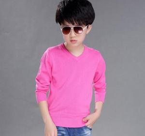 Image 4 - 2020 ربيع الأطفال ملابس الأولاد البلوزات الصلبة السببية كم طويل الخامس الرقبة الصبي رقيقة محبوك البلوزات للبنين كبير الاطفال القمم
