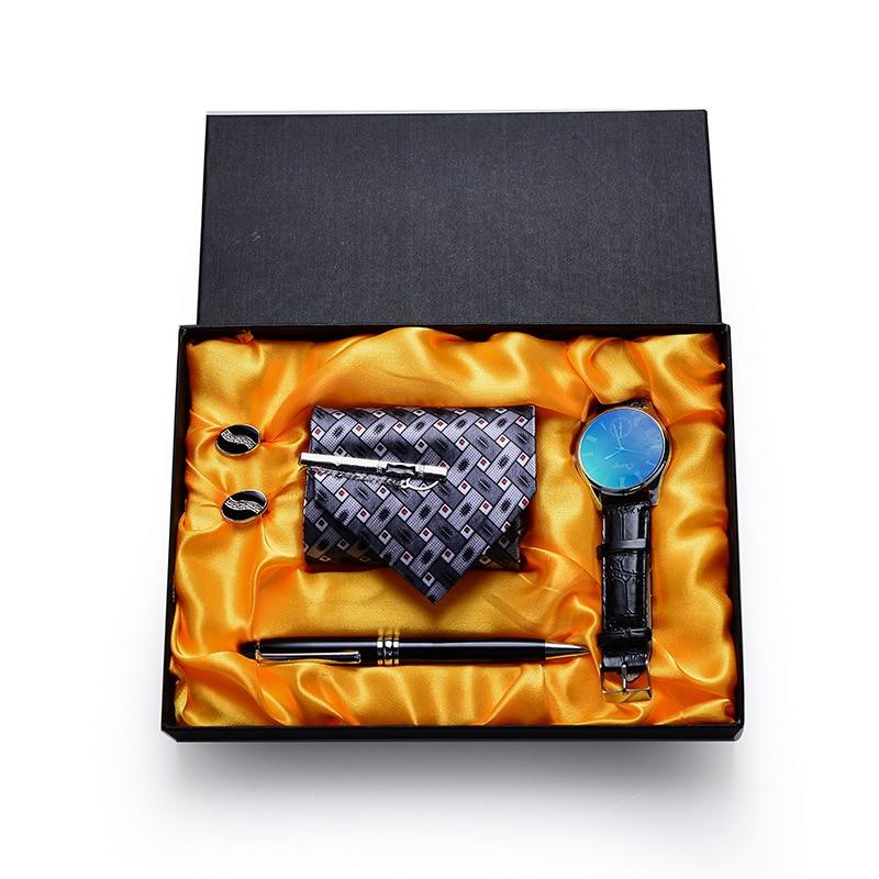 Men 8 Cm Business Tie 4 Pcs Watch Cuff-link Pen Glasses Stripe Jacquard Necktie Accessories Wear Cravat Wedding Party Gift Box