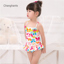 Little girl swimwear child one piece color white&butterfly pattern for 2-5 years old little girls