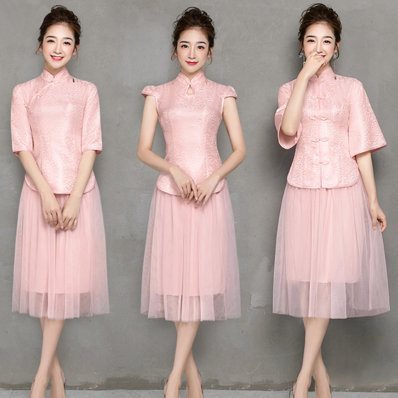 2 Pieces Set Pink Tulle Bridesmaid Dresses Embroidery Cheongsam Vintage Chinese Style Princess Tea-length Prom Dress Vestidos