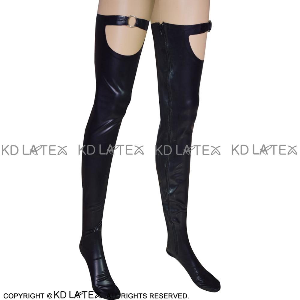 Black Sexy Long Latex Thigh High Stockings With Ring And Zipper Long Rubber Stockings WZ-0016