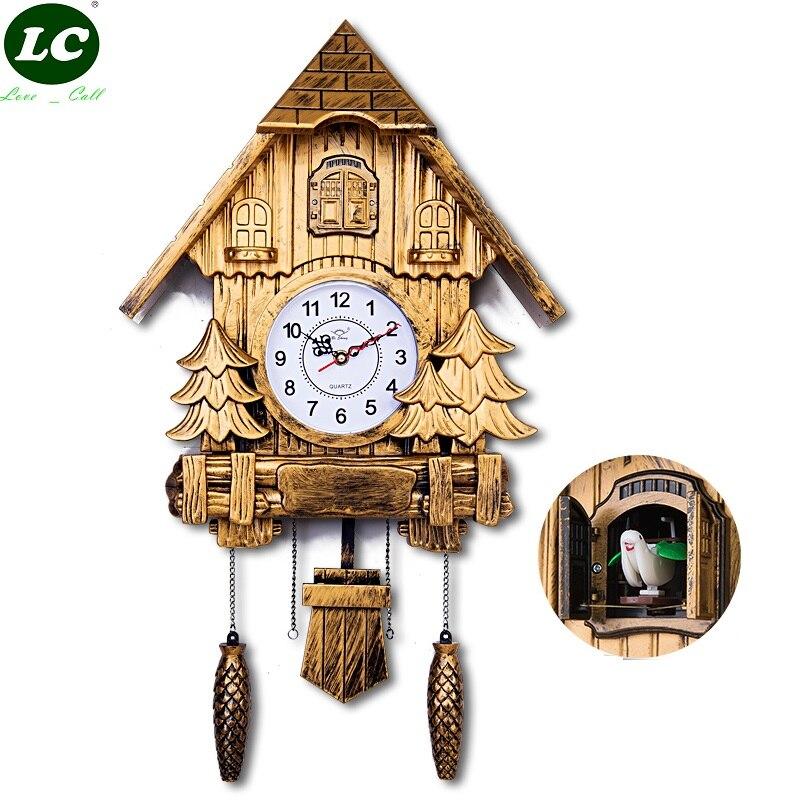 Livraison gratuite 16 pouces horloge murale moderne coucou horloge mur décor à la maison résine mur montre cadeau pour noël électrique coucou horloge