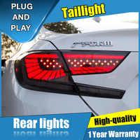 4 sztuk Car Styling dla Honda Accord Taillights 2018-2019 dla Accord wszystkie tylna lampa LED + Turn Signal + Brake + rewers LED light
