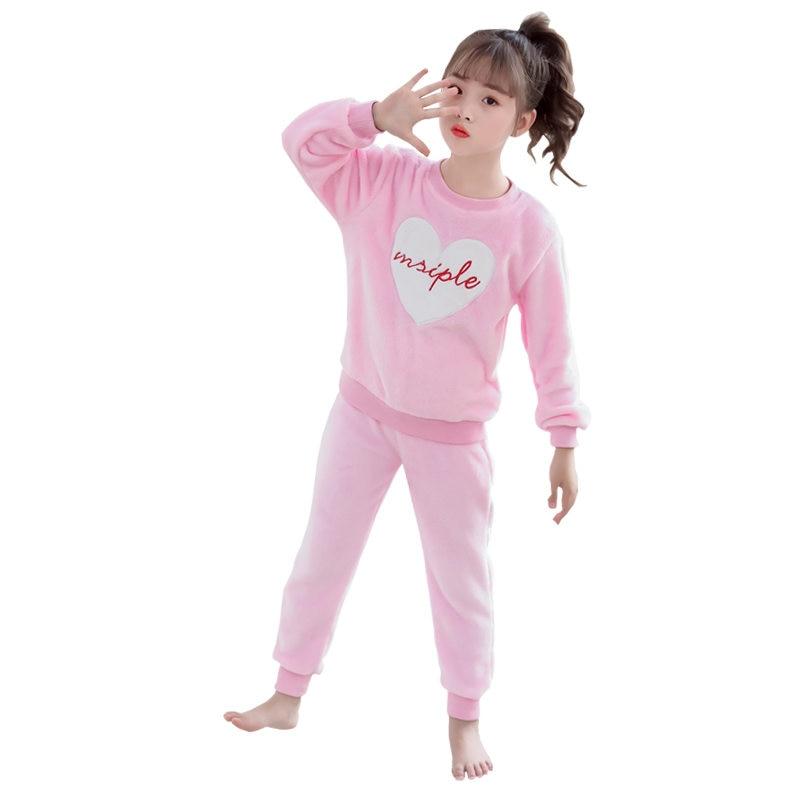 Kids Flannel Pajamas Sets For Girls Winter Children Fleece Warm Sleepwear Suit Set 3-13T