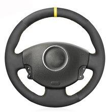 Czarny zamsz ręcznie szyta miękka osłona na kierownicę do samochodu Renault Megane 2 2002-2009 Kangoo (ZE) 2008- 2013 Scenic 2 2003-2010