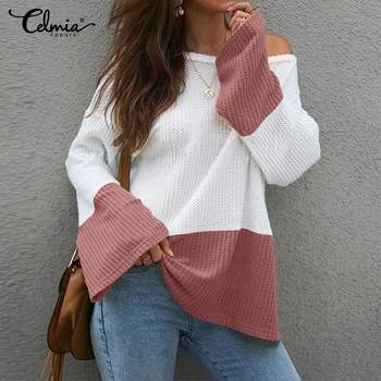 2020 Celmia Autumn Women Fashion Sweet Patchwork Sweaters Long Flare Sleeve Pullovers Casual Loose Jumpers Oversized Knitwear 7 фото