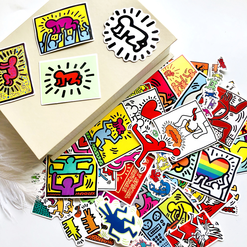50Pcs/Lot Keith Haring Stickers For Decal Snowboard Laptop Luggage Car Fridge Car- Styling Sticker Pegatina