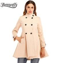 Benuynffy винтажное двубортное пальто с баской осенне-зимнее женское элегантный воротник-стойка шерстяное пальто женское тонкое пальто верхняя одежда