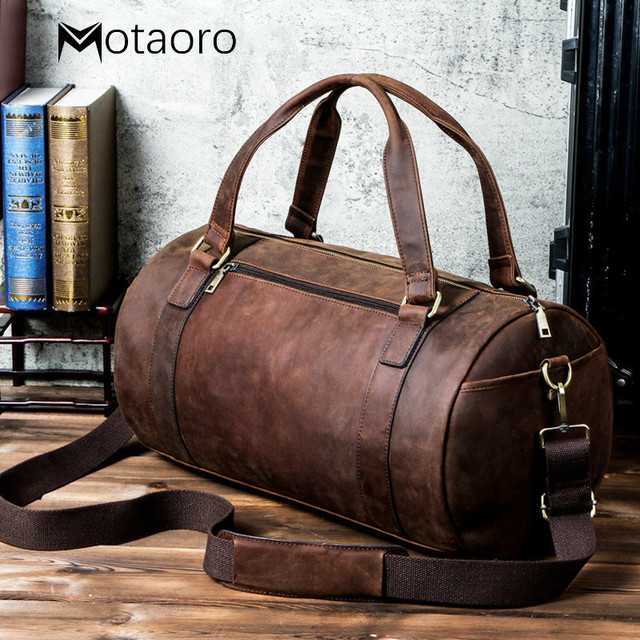 Genuine Leather Men Travel Bags Organizer Luggage Duffle Weekend Bag Crazy Horse Leather Travelling Bag More Function Packing 1