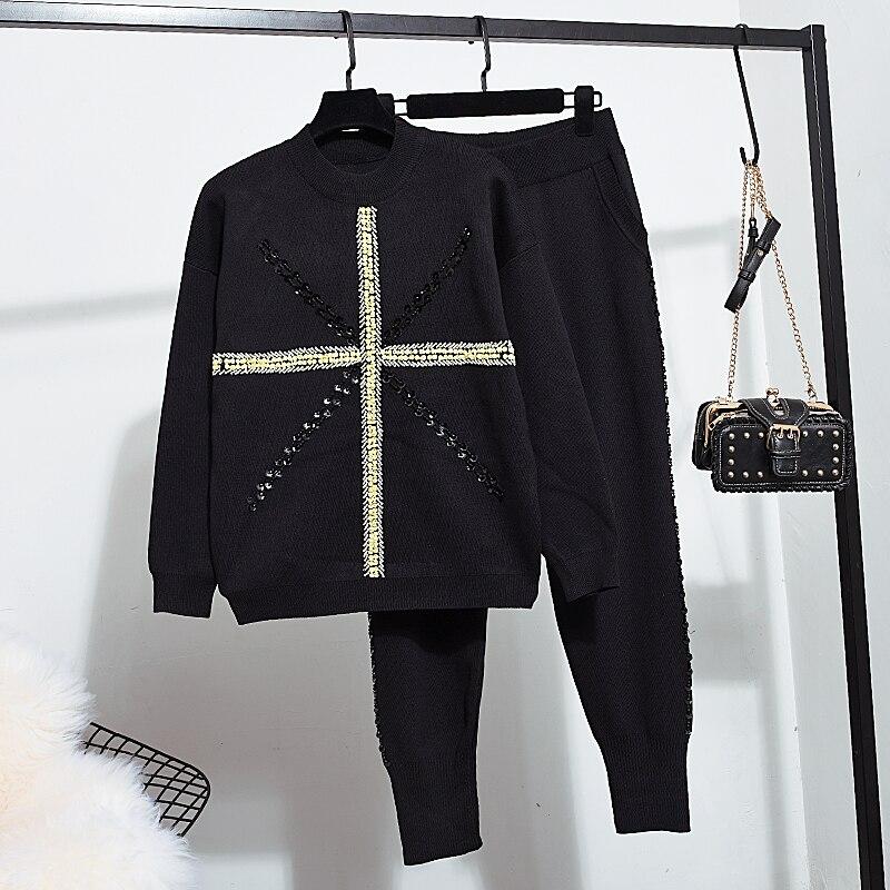 Chandail tricoté Femmes Ensemble 2019 Automne Nouvelle Mode Perles Manches Longues hauts pullover + décontracté Petits Pieds Pantalon 2 Pièces ensemble femmes