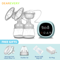Electric Breast Pump Rechargeable Nursing Breastfeeding Pump Easy Carry Outdoors LCD Touch Screen Control BPA Free Baby Bottle