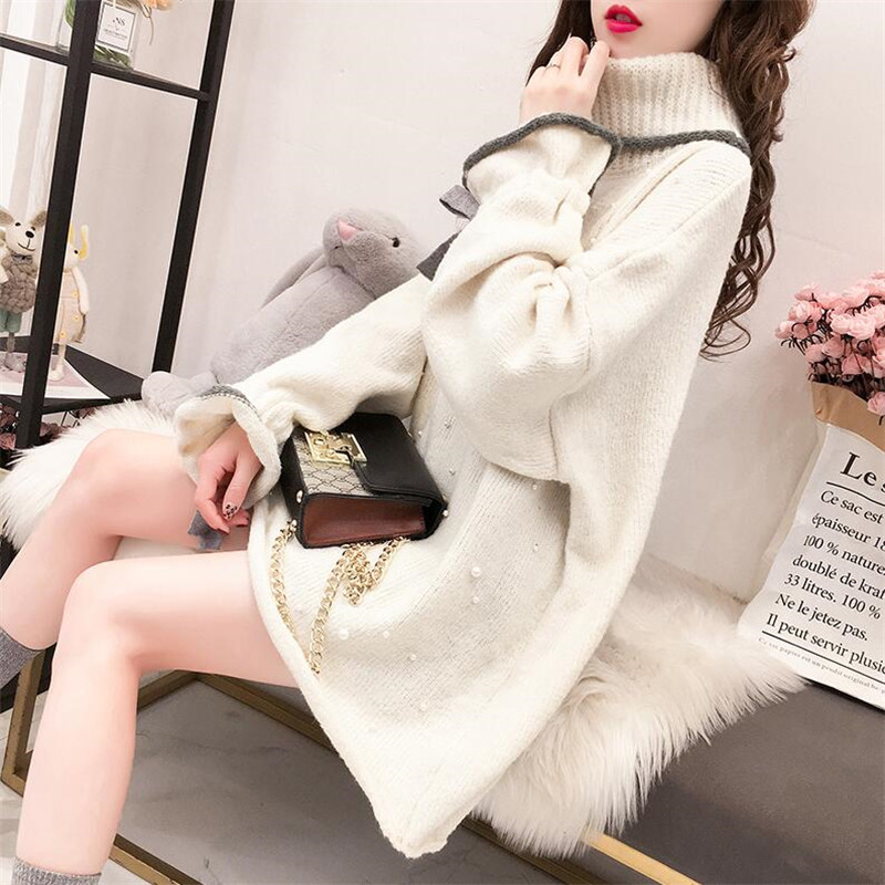 2019 Autumn And Winter Thick High Collar Long-sleeved Beaded Sweater Female College Wind Hooded Shirt Wild Ins Shirt