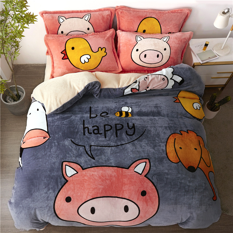 19 New Products Thick Warm Flannel Four-piece Set Winter Double-Sided 1.8 M Flannel Quilt Cover Sheet A Generation Of Fat