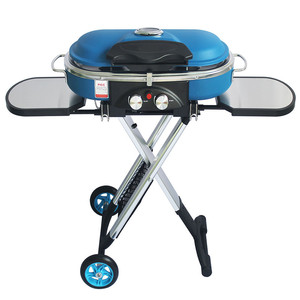Image 1 - Integrated Portable Trolley BBQ Grill Outdoor Camping Barbecue Oven Gas Stove