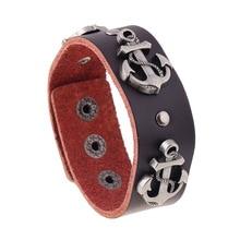 2020 moda novedosa pulsera de ancla de cuero genuino Vintage 2,5 CM de ancho de cuero de vaca remache Stud pulseras pulsera hombres mujeres joyería