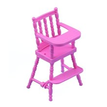 Pink High Chair for Baby Dolls House Furniture Girls Baby Doll Accessories DIY Toy(China)