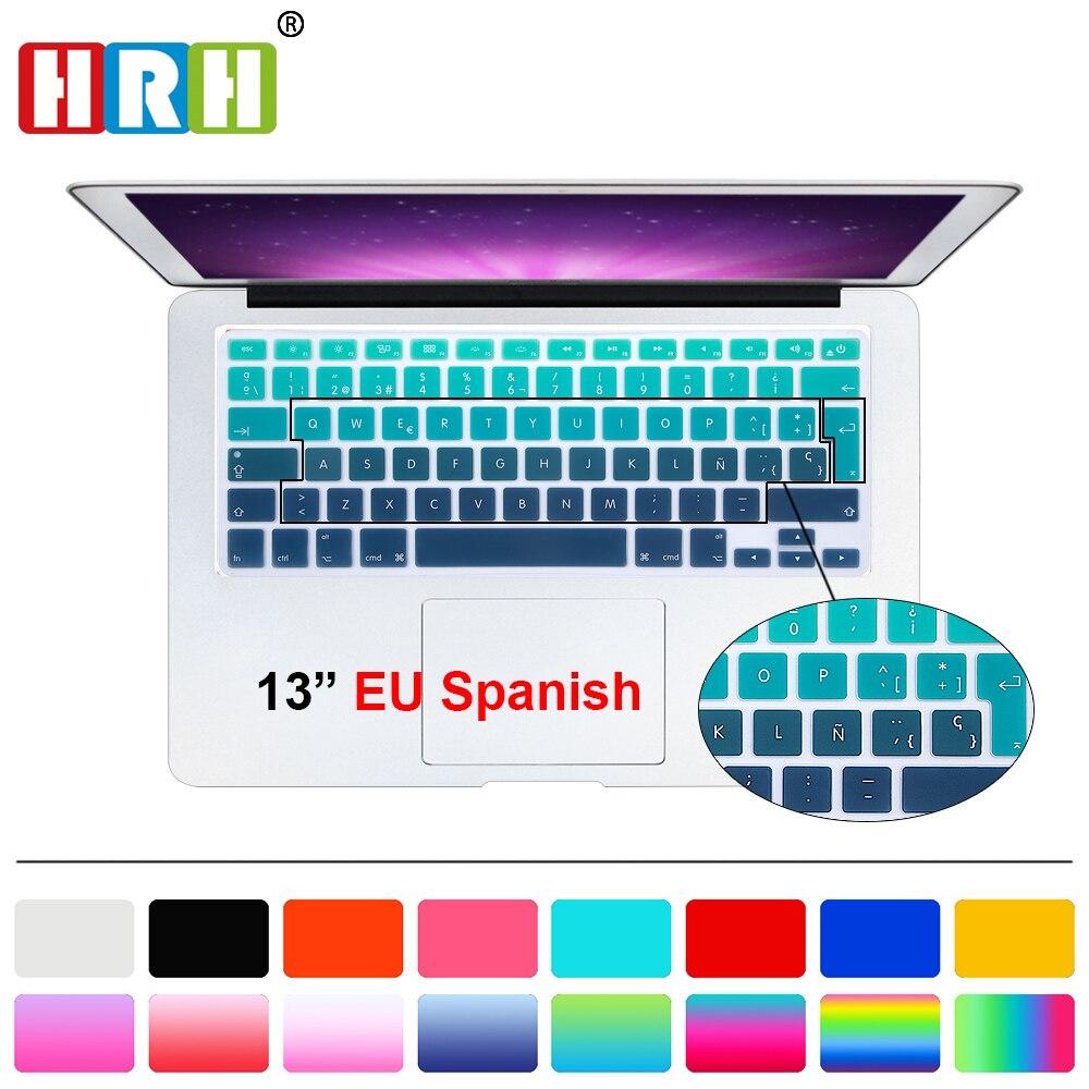 HRH UK/EU ESP Slim Spanish Gradient Rainbow Silicone Keyboard Cover Keypad Skin Protector For Mac book Air Pro Retina 13 15 17