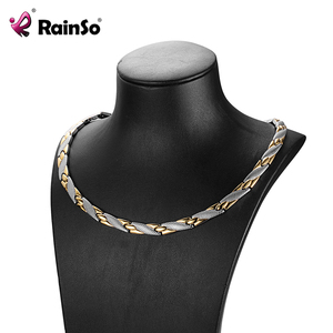 Image 1 - RainSo Magnetic Link Chain Stainless Steel Necklaces Health for arthritis FIR Bio Energy Healing Power Necklace Women for lovers