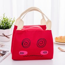 Student Kid Lunch Bag Thermal Cooler Handbag Food Neutral Cartoon expression Outdoor picnic Multifunction
