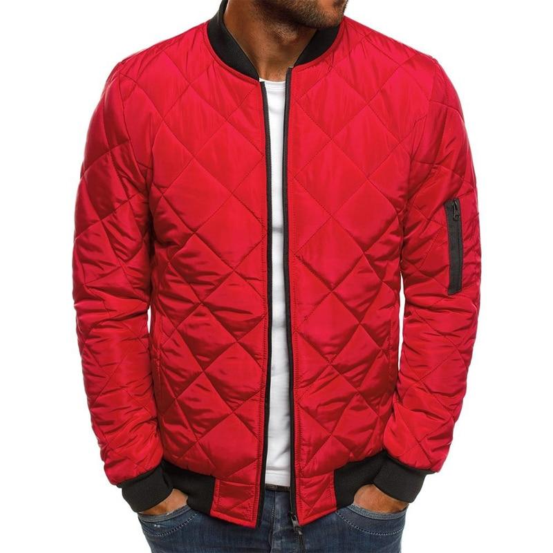 Men's Warm Jacket Solid Lingge Suede Cotton Classic Jacket Zip Lightweight Outdoor Diamond Coat Slim Fit Softshell Trench Jacket