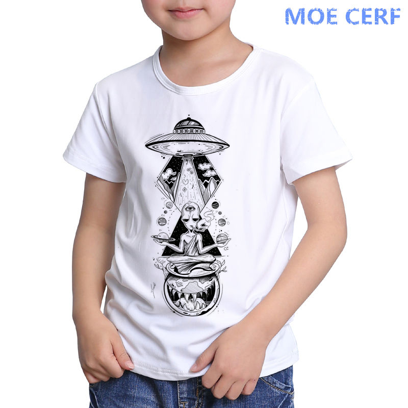 Merry Christmas Cute Alien 2-6 Years Old Kids Short Sleeve T Shirts