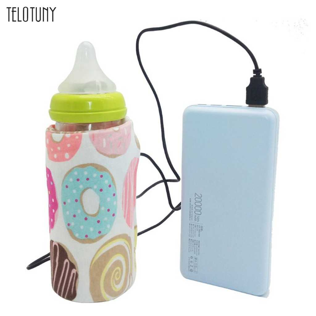 TELOTUNY USB Baby Bottle Warmer Portable Travel Milk Warmer Infant Feeding Bottle Heated Insulation Thermostat Food Heater 1101