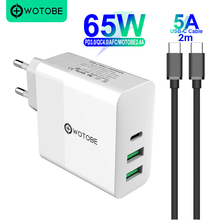 65W TYPE C USB C Power Adapter,1Port PD60W QC3.0 Charger For USB C Laptops MacBook Pro/Air iPad Pro,2port USB for S8/S10 iPhone