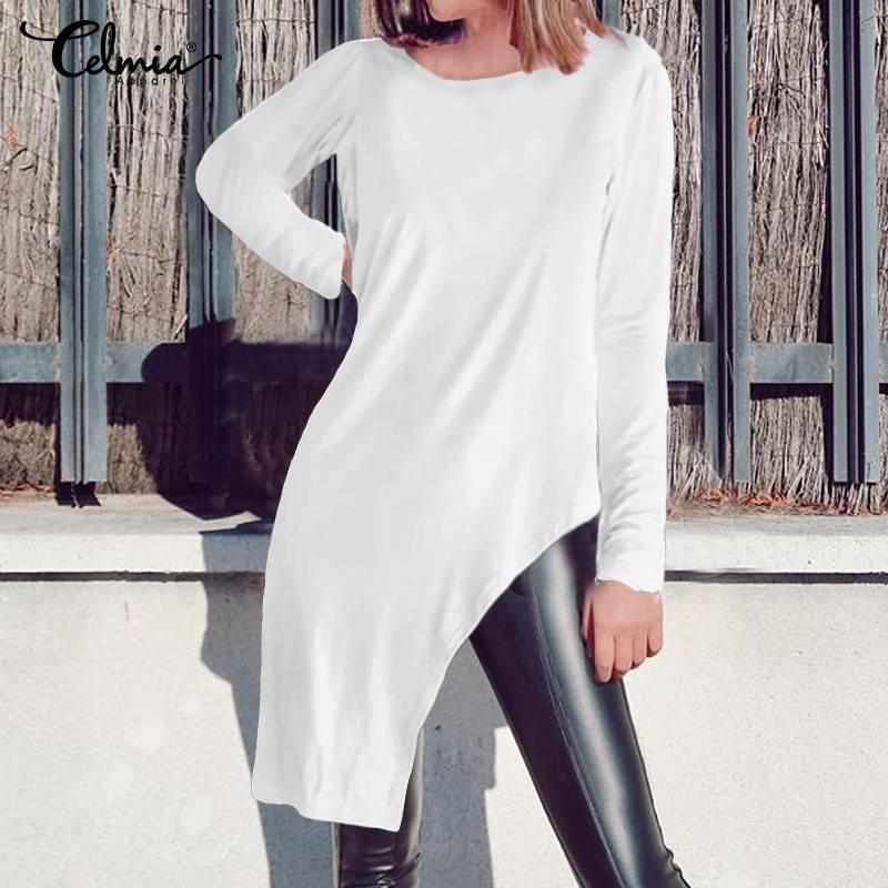 2019 Celmia Frauen Mode Langarm Blusen Beiläufige Lose Asymmetrische Lange Tops Feste O-ansatz Gefaltete Shirts Femme Blusas Mujer