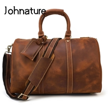 Johnature Large Capacity Men Travel Bag 2020 New Vintage Crazy Horse Leather Big