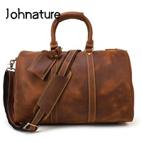 Johnature Large Capacity Men Travel Bag 2020 New Vintage Crazy Horse Leather Big Luggage Bag Leisure Cowhide Luxury Duffle Bag