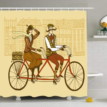 Shower Curtain Set with Hooks 72x72 Retro Hand Drawn for Gentleman Pair Mustaches Sketch Bike Lady Romantic Englishman People image