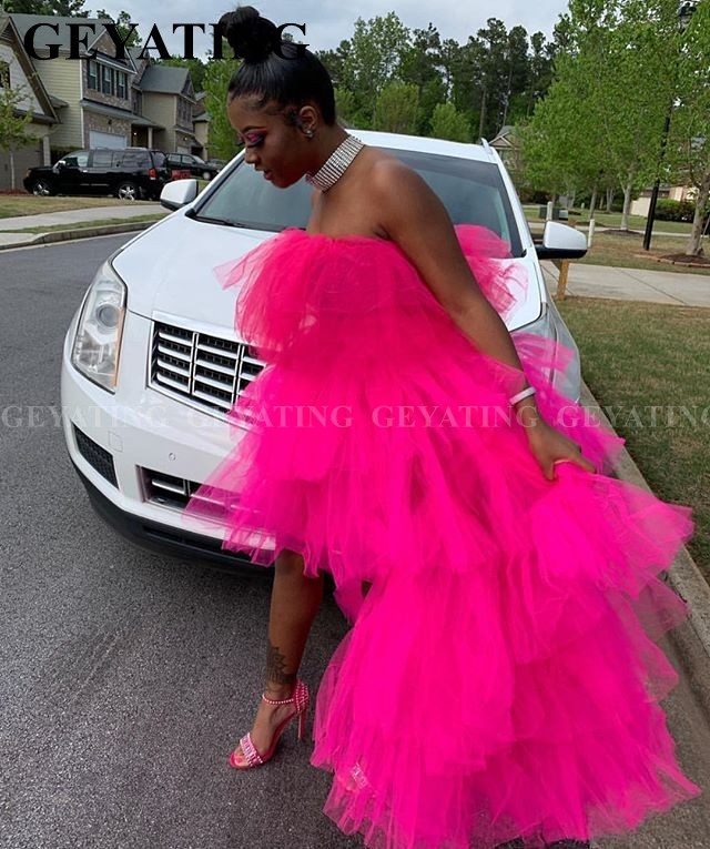 Black Girls Hot Pink Tiered Tulle High Low Prom Dresses African Strapless Ruffles Graduation Gowns Plus Size Semi Formal Dress