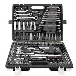 Zestaw narzędzi ręcznych ogólne narzędzie ręczne do gospodarstwa domowego zestaw z plastikowa skrzynka na narzędzia futerał do przechowywania klucz nasadowy śrubokręt do narzędzia do naprawy auto w Klucze od Narzędzia na