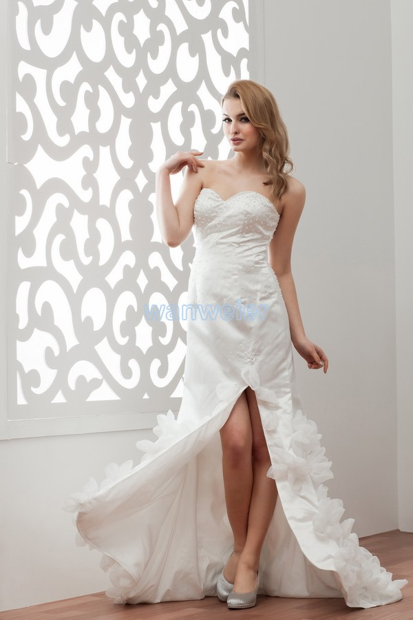 Free Shipping 2020 New Design Sweetheart Handmade Flowers Custom Size/color Short Front Long Back With Train White Wedding Dress