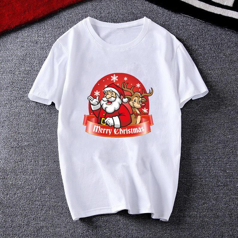 Модная женская футболка с принтом Счастливого Рождества коротким